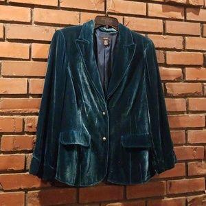 Alfani Velvet Teal Blazer Size 10